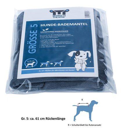 Hunde-Bademantel in Größe 5 für eine Rückenlänge von ca. 61 cm