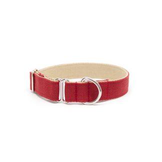 Schlupf-Hundehalsband aus 2,5 cm breiten Baumwollband von Vackertass. Es ist innen beige, außen rot.