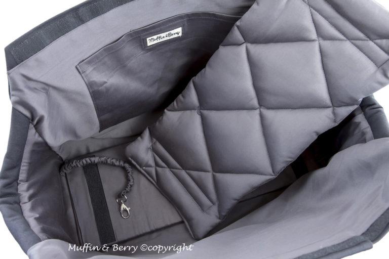 handgefertigte blaue Hundetragetasche aus Baumwolle