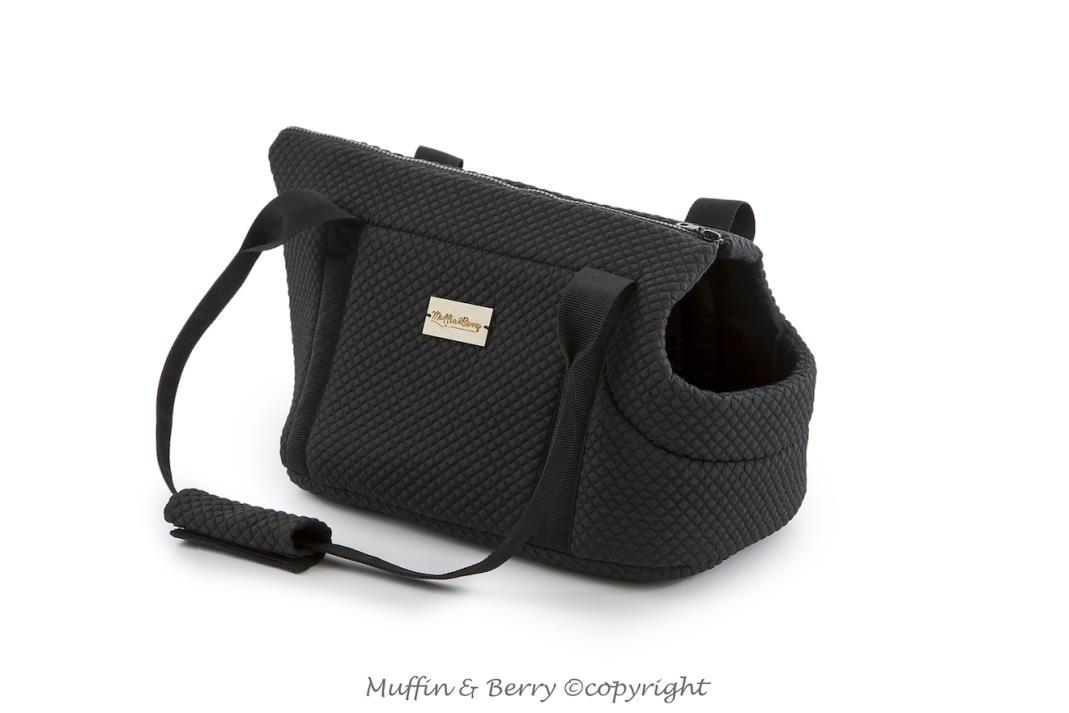 handgefertigte schwarze Hundetragetasche