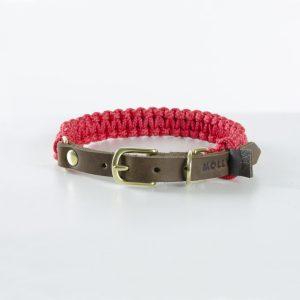 aus Segeltauen geflochtenes Halsband von Molly and Stitch in Lipstick Red mit Lederverschluss