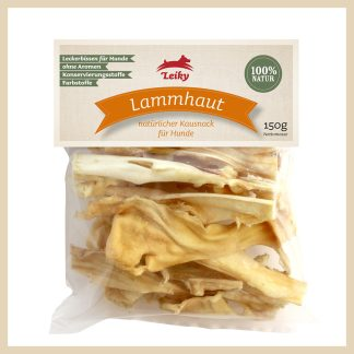 Eine Tüte mit 150 g getrockneter Lammhaut für den Hund von Leiky. Ohne Konservierungsstoffe.