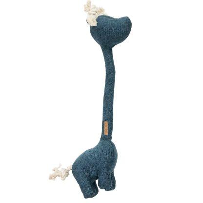 Hundespielzeug blaue Giraffe mit sehr langem Hals. Im Hals steckt ein Seil.