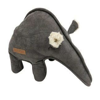 Hundespielzeug graue Nasenbär mit sehr langem Rüssel. Die Ohren sind aus weißem Teddyplüsch.