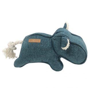 Hundespielzeug blaues Nilpferd mit dicker Nase. Die Ohren sind aus weißem Teddyplüsch.