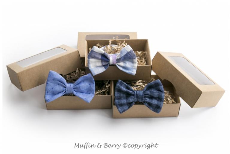 Drei blau karierte Fliegen für Hunde in Geschenkbox