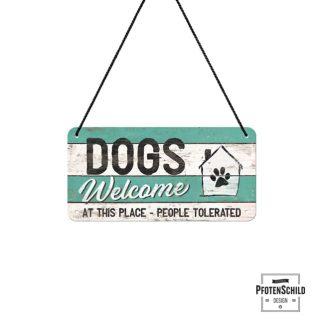 dreifarbiges Türschild Dogs welcome