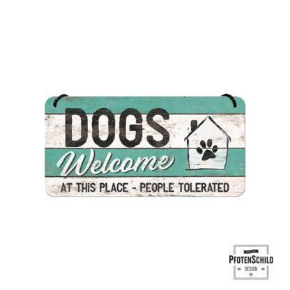 Türschild hellgrin-weiß-gestreift Dogs welcome