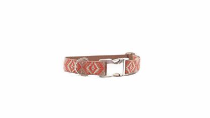 korallenrotes Hundehalsband im Boho Style