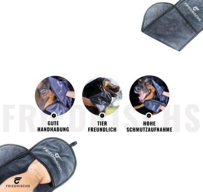 Hundehandtuch mit guter Handhabung durch Handschuh