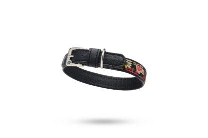 schwarzes Lederhalsband mit bunten Blumenstoff